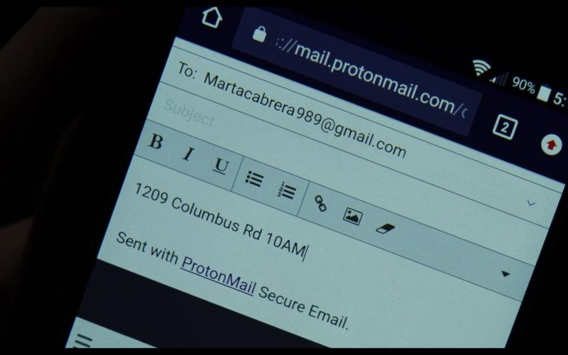 ProtonMail and Gmail in Knives Out (2019)