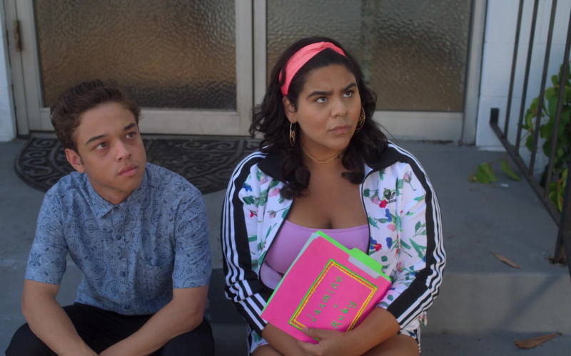 Adidas Floral Jacket & Shorts Outfit Worn by Jessica Marie Garcia as Jasmine Flores in On My Block (6)