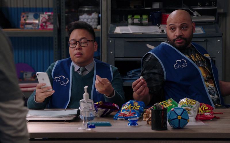 Apple iPhone White Smartphone Held by Nico Santos in Superstore S05E19