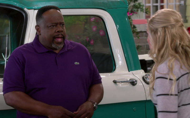Lacoste Purple Polo Shirt Worn by Cedric the Entertainer in The Neighborhood S02E18 (1)