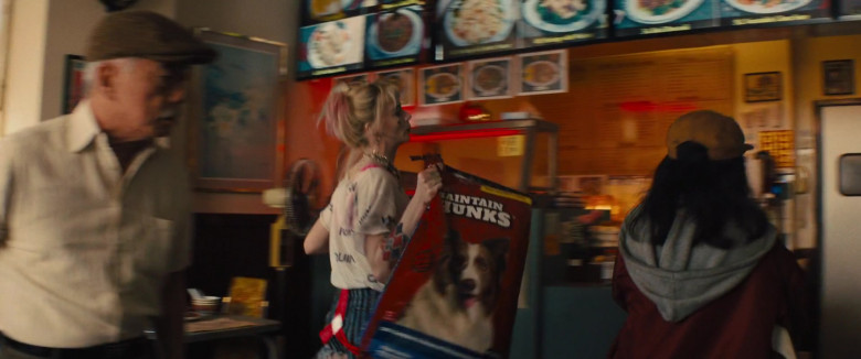 Maintain Chunks Dog Food Held by Margot Robbie as Harleen Quinzel in Birds of Prey (1)