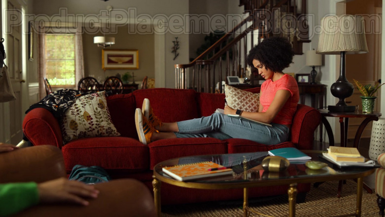 Adidas Gazelle Orange Suede Trainers of Lee Rodriguez as Fabiola in Never Have I Ever S01E05
