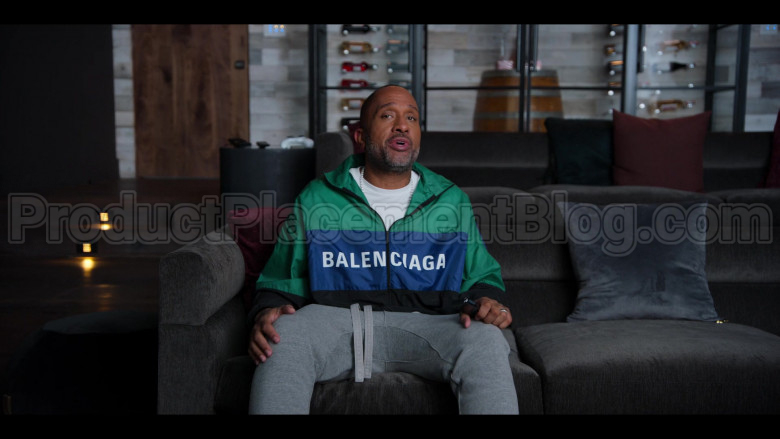 Balenciaga Colour Block Green-Blue-Black Nylon Tracksuit Jacket – Windbreaker of Kenya Barris in #blackAF S01E05 (1)
