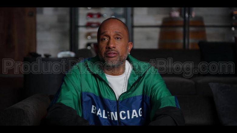 Balenciaga Colour Block Green-Blue-Black Nylon Tracksuit Jacket – Windbreaker of Kenya Barris in #blackAF S01E05 (3)