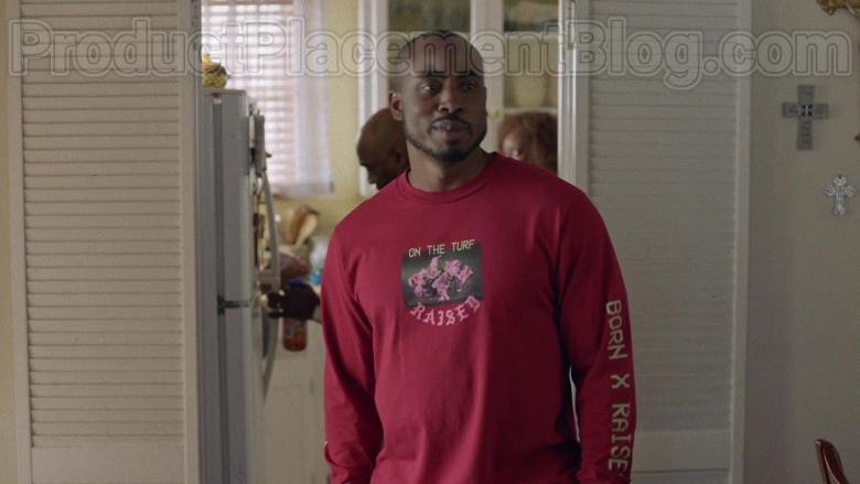 Born x Raised Palms Print Long Sleeve Tee (Burgundy) For Men in Insecure S04E03 (1)