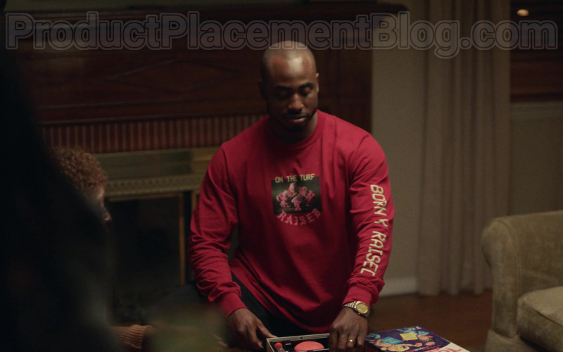 Born x Raised Palms Print Long Sleeve Tee (Burgundy) For Men in Insecure S04E03 (2)