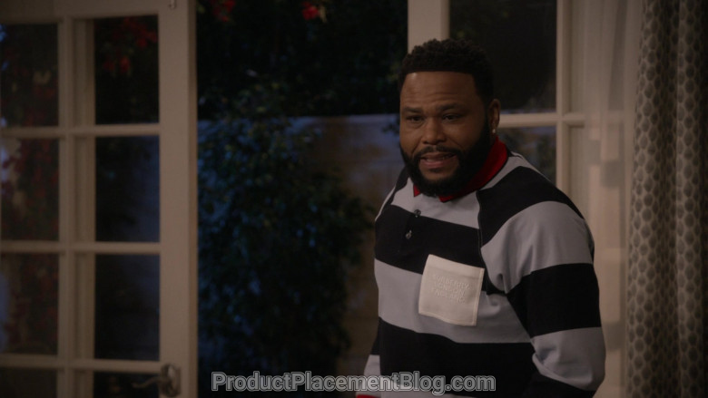 Burberry Long Sleeve Polo Shirt of Anthony Anderson in Black-ish S06E21 (1)