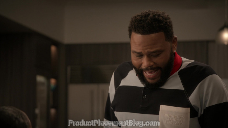 Burberry Long Sleeve Polo Shirt of Anthony Anderson in Black-ish S06E21 (3)