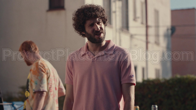 Champion Pink Polo Shirt of Lil Dicky in Dave S01E08 (3)