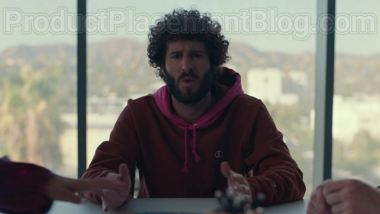 Champion Red Hoodie of Lil Dicky in Dave S01E10 TV Series (1)