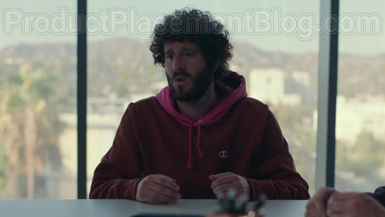 Champion Red Hoodie of Lil Dicky in Dave S01E10 TV Series (2)