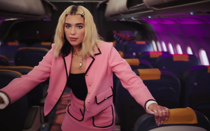Chanel Pink Skirt Suit Worn by Dua Lipa in Break My Heart (3)