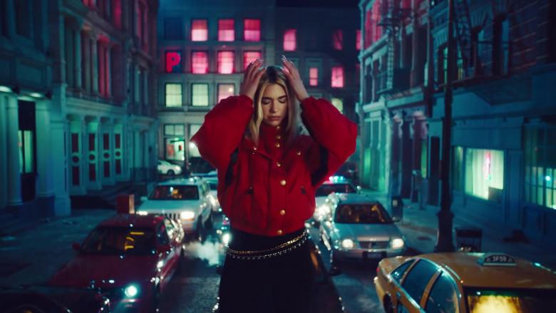 Chanel Red Down Jacket Worn by Dua Lipa in Break My Heart (4)