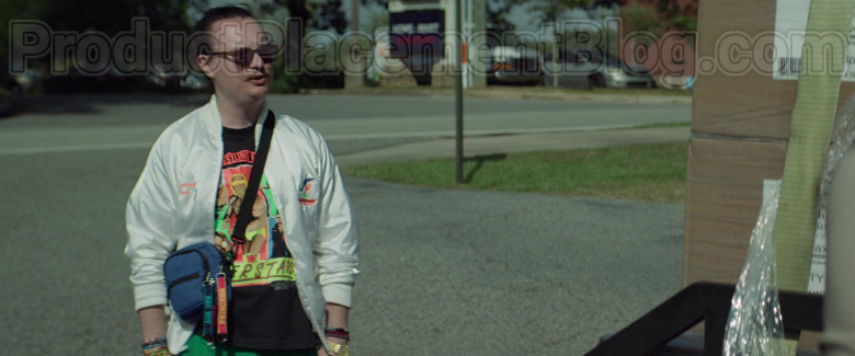Clark Duke as Swin Wearing MasterCraft Ski Boats Logo White Jacket in Arkansas Movie (6)
