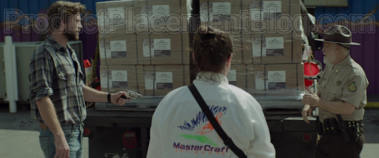 Clark Duke as Swin Wearing MasterCraft Ski Boats Logo White Jacket in Arkansas Movie (7)