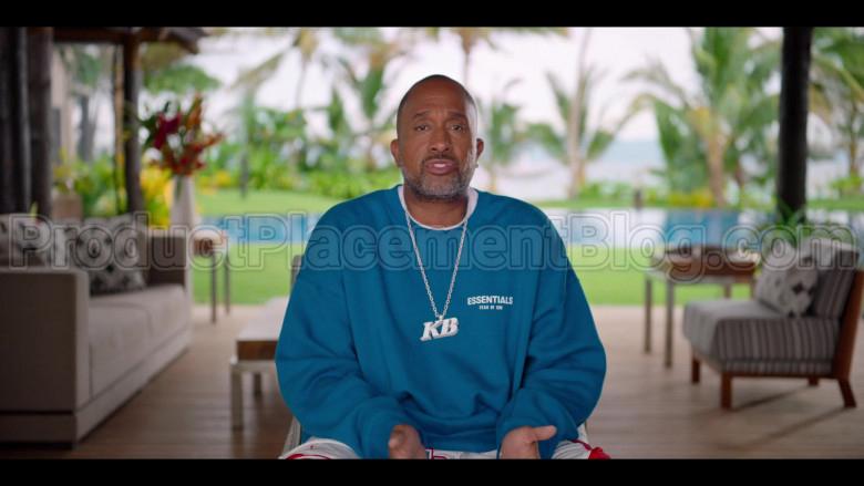 Fear of God ESSENTIALS Blue Sweatshirt of Kenya Barris in #blackAF S01E07 (2)