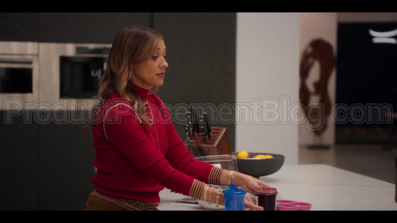 Fendi Red Ribbed Knit Turtleneck Top of Rashida Jones as Joya Barris in #blackAF (1)