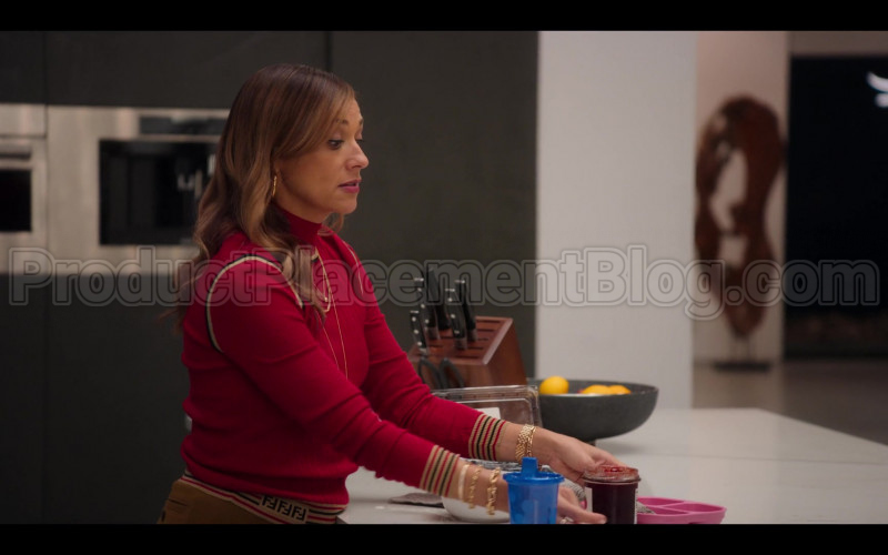 Fendi Red Ribbed Knit Turtleneck Top of Rashida Jones as Joya Barris in #blackAF (1)