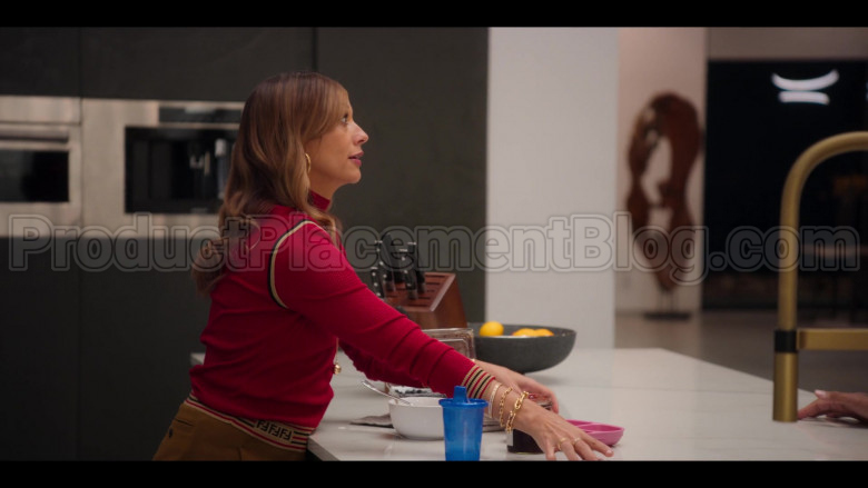 Fendi Red Ribbed Knit Turtleneck Top of Rashida Jones as Joya Barris in #blackAF (2)