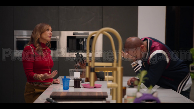 Fendi Red Ribbed Knit Turtleneck Top of Rashida Jones as Joya Barris in #blackAF (3)