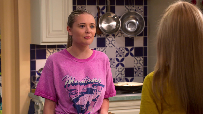 Ford Mustang Pink Tee Worn by Reylynn Caster as Lola in The Big Show Show S01E02