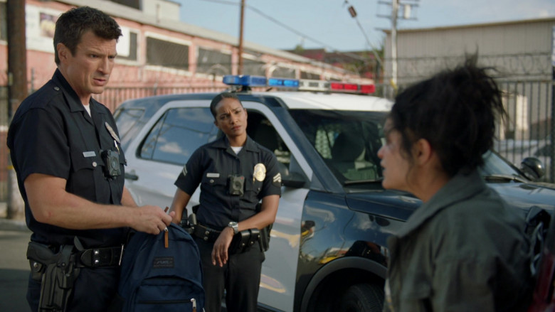 Fuel USA Blue Backpack Held by Nathan Fillion in The Rookie S02E17