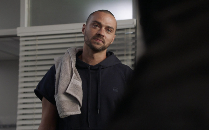 G-Star Raw Men's Short-Sleeve Hoodie of Jesse Williams as Dr. Jackson Avery in Station 19 S03E12 (3)