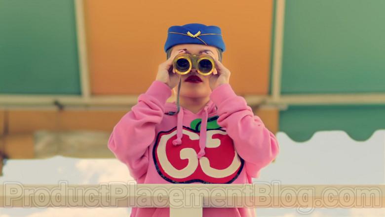 Gucci Women's Pink Hooded Sweatshirts With GG Apple Print in Mamacita by The Black Eyed Peas, Ozuna, J. Rey Soul (1)