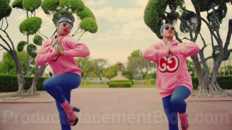 Gucci Women's Pink Hooded Sweatshirts With GG Apple Print in Mamacita by The Black Eyed Peas, Ozuna, J. Rey Soul (2)