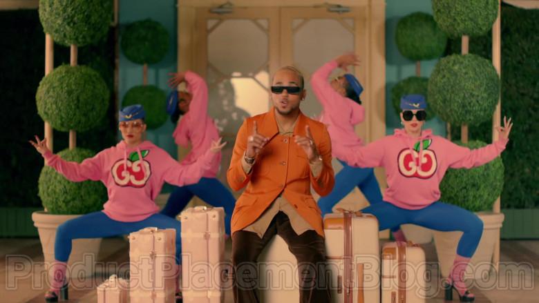 Gucci Women's Pink Hooded Sweatshirts With GG Apple Print in Mamacita by The Black Eyed Peas, Ozuna, J. Rey Soul (3)