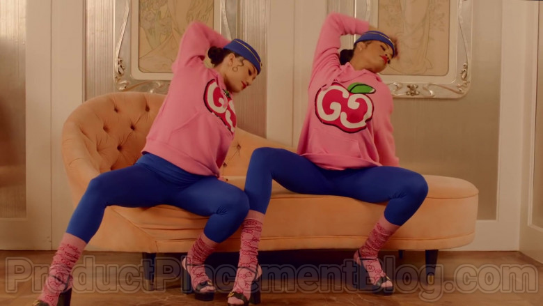Gucci Women's Pink Hooded Sweatshirts With GG Apple Print in Mamacita by The Black Eyed Peas, Ozuna, J. Rey Soul (6)