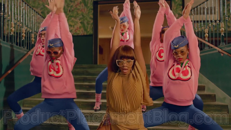 Gucci Women's Pink Hooded Sweatshirts With GG Apple Print in Mamacita by The Black Eyed Peas, Ozuna, J. Rey Soul (7)
