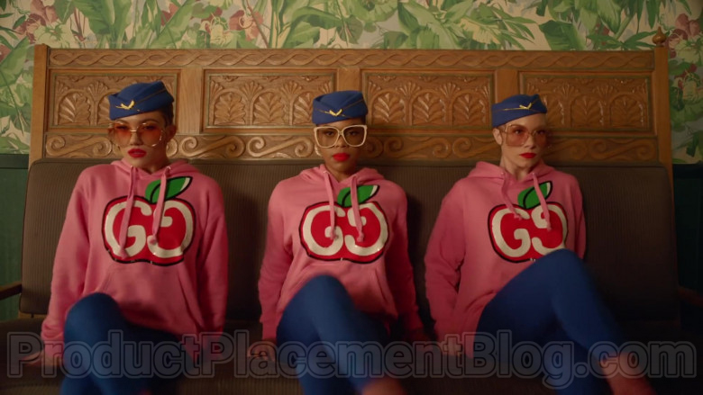 Gucci Women's Pink Hooded Sweatshirts With GG Apple Print in Mamacita by The Black Eyed Peas, Ozuna, J. Rey Soul (8)
