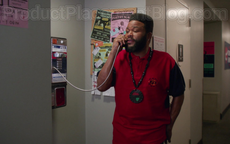Karl Kani Red Polo Shirt of Anthony Anderson in Black-ish S06E22