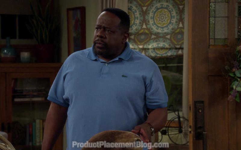 Lacoste Blue Polo Shirt of Cedric the Entertainer as Calvin Butler in The Neighborhood S02E20 (1)