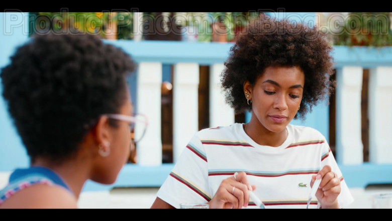 Lacoste Striped T-Shirt Worn by Rebecca Coco Edogamhe as Summer in Summertime Netflix Original Series (1)