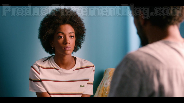 Lacoste Striped T-Shirt Worn by Rebecca Coco Edogamhe as Summer in Summertime Netflix Original Series (2)