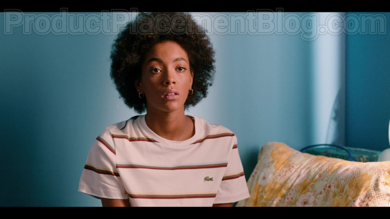Lacoste Striped T-Shirt Worn by Rebecca Coco Edogamhe as Summer in Summertime Netflix Original Series (3)