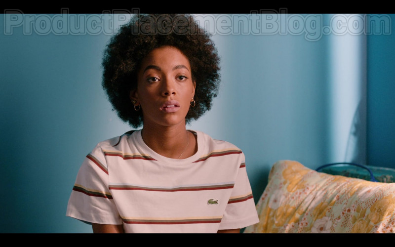Lacostre Striped T-Shirt Worn by Rebecca Coco Edogamhe as Summer in Summertime Netflix Original Series (3)