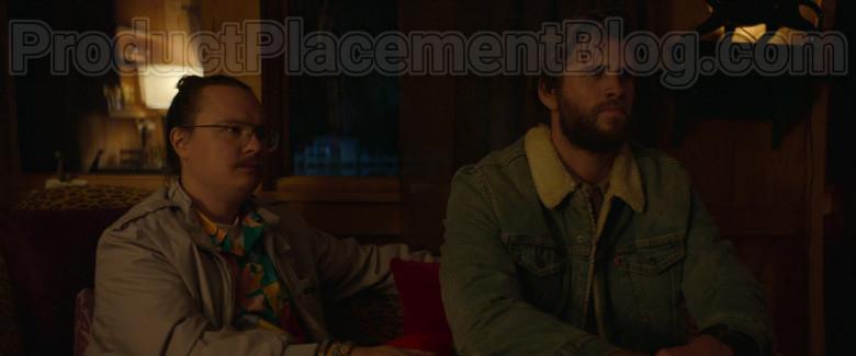 Liam Hemsworth as Kyle Wearing Levi's Denim Jacket With Fur in Arkansas Movie