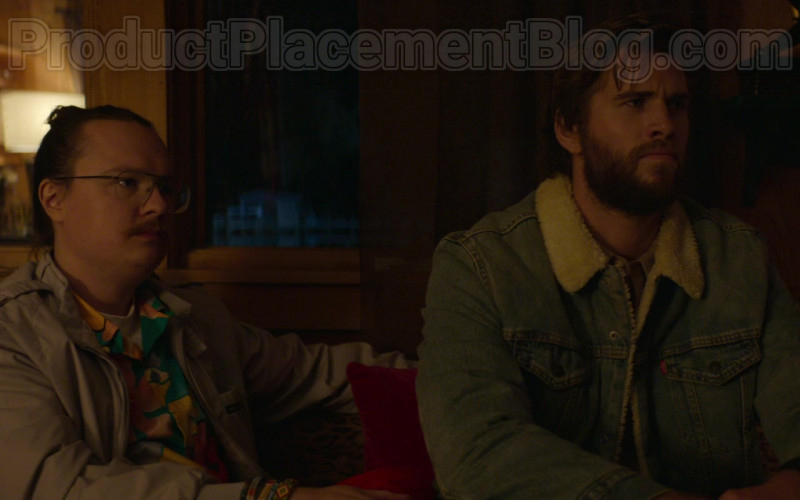 Liam Hemsworth as Kyle Wearing Levi's Denim Jacket With Fur in Arkansas Movie