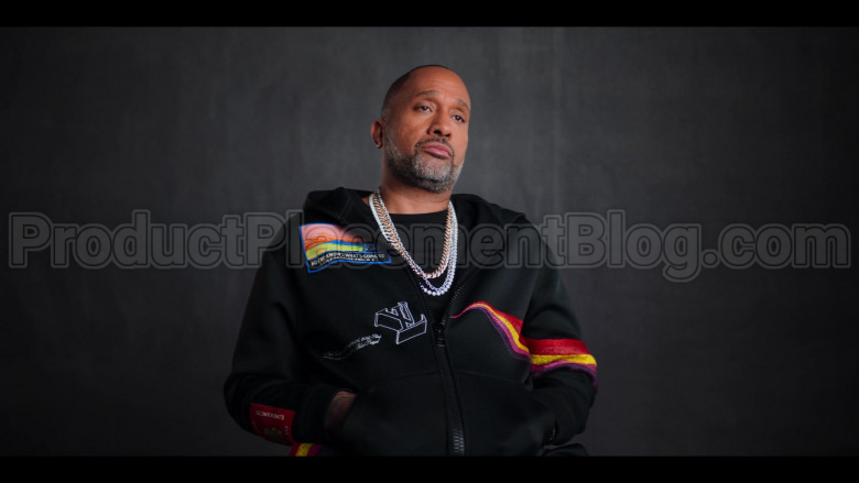 Louis Vuitton No One Knows What's Going To Happen Next Patch Black Hoodie of Kenya Barris in #blackAF (3)