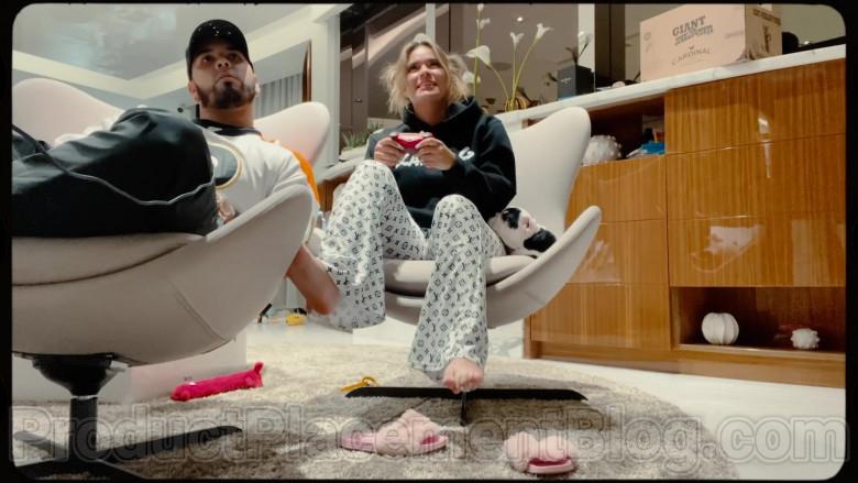 "Louis Vuitton White Pajama Trousers of Karol G in ""Follow"" 2020 (1)"
