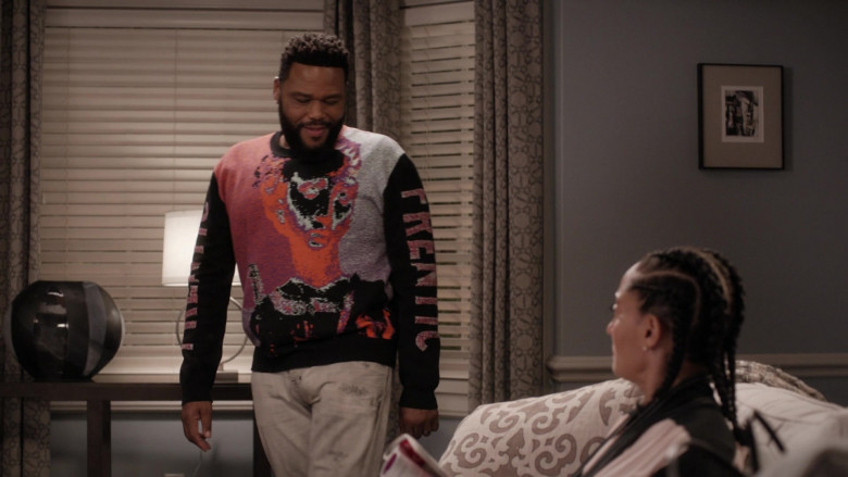 McQ Alexander McQueen Frentic Intarsia Cotton-Blend Jumper of Anthony Anderson in Black-ish S06E20 (1)