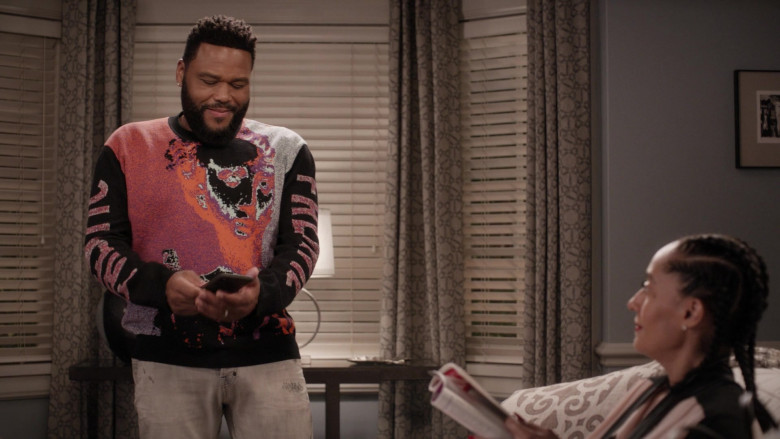 McQ Alexander McQueen Frentic Intarsia Cotton-Blend Jumper of Anthony Anderson in Black-ish S06E20 (3)