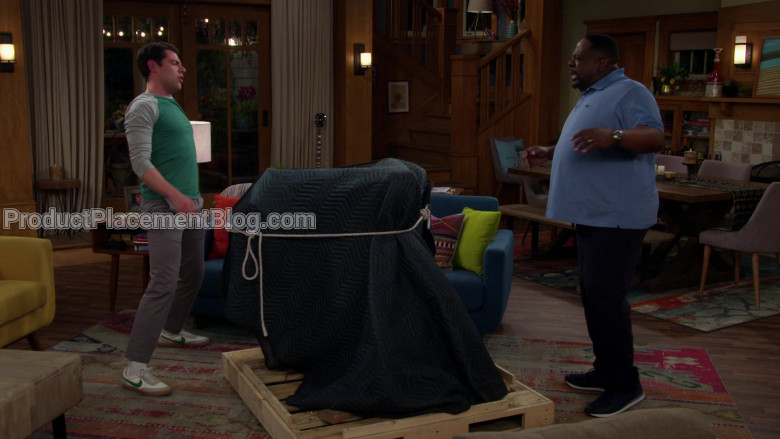 Nike White Shoes With Green Logo Worn by Max Greenfield as Dave Johnson in The Neighborhood S02E20