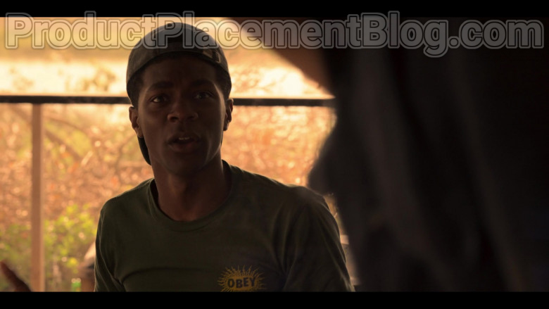 Obey Green T-Shirt of Jonathan Daviss as Pope in Outer Banks S01E02 (2)