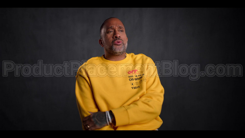 Off-White Yellow Sweatshirt of Kenya Barris in #blackAF S01E04 (2)