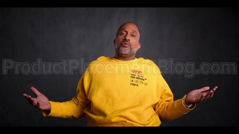 Off-White Yellow Sweatshirt of Kenya Barris in #blackAF S01E04 (4)