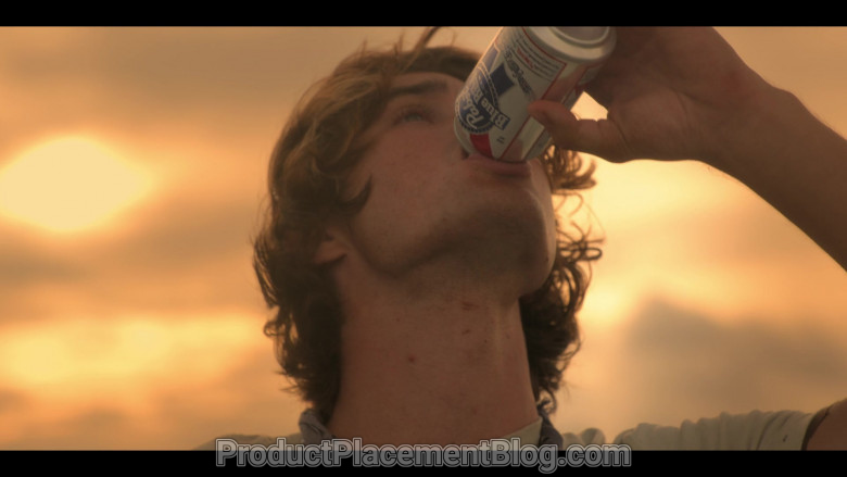 Pabst Blue Ribbon Beer Enjoyed by Chase Stokes as John B in Outer Banks S01E01 (1)